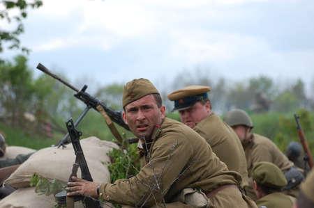 KIEV, UKRAINE, 10 MAY 2008: Member of military history club Red Star. Person in Soviet WW2 military uniform. Historical military reenacting Kiev, Ukraine, 8-10 May, 2008.  Stock Photo - 9004054