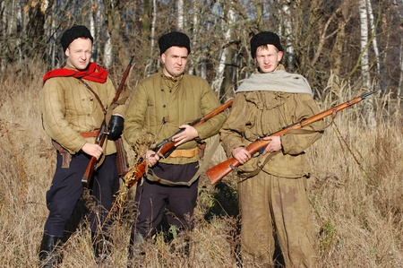 KIEV,UKRAINE. 9 November 2008 Person in Soviet WW2 military uniform. Member of military history club Red Star. Historical military reenacting Kiev ,Ukraine. 7-9 November 2008