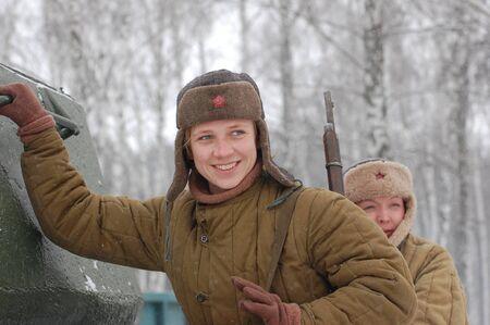 wwii: KIEV, UKRAINE - FEB 20: A member of military history club Red Star wears historical Soviet uniform during historical reenactment of WWII,February 20, 2011 in Kiev, Ukraine  Editorial