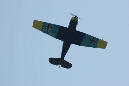 KIEV, UKRAINE - MAY 10 : German military airplane (imitation) during historical reenactment of 1945 WWII, May 10, 2010 in Kiev, Ukraine