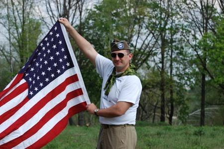 re enacting: KIEV, UKRAINE - MAY 10 : Member of Red Star history club wears historical American uniforms during participation in 1945 WWII reenactment May 10, 2010 in Kiev, Ukraine  Editorial