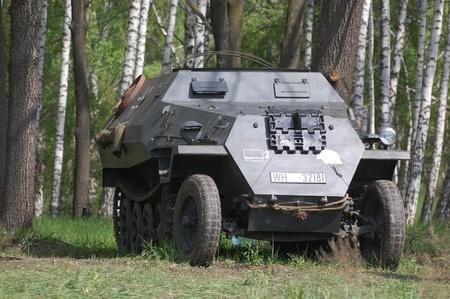 re enacting: KIEV, UKRAINE - MAY 8 : German armored truck during historical reenactment of WWII on May 8, 2011 in Kiev, Ukraine  Editorial
