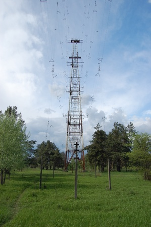 Huge abandoned Soviet long wave military antennas  complex. In Cold War time named in NATO Russian Woodpecker. Near Chernobyl area. Ukraine photo
