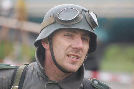 Man,wears German uniform of Second World War.Historical reenactment in Kiev,Ukraine  photo