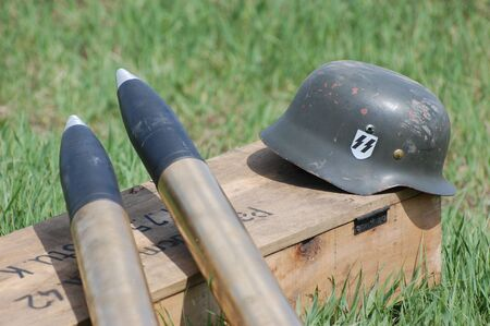 barrel bomb: KIEV, UKRAINE - MAY 8 : Red Star military history club. German munition and weapon replica during historical reenactment of WWII on May 8, 2011 in Kiev, Ukraine