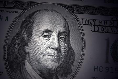 Benjamin Franklin portrait from 100 dollars banknote  photo