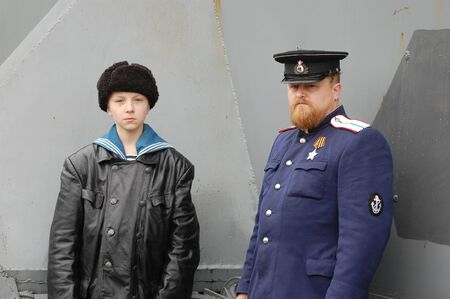 re enacting: KIEV, UKRAINE - MAY 6 : Members of Red Star history club wear historical Soviet uniform during historical reenactment of WWII, May 6, 2011 in Kiev, Ukraine  Editorial
