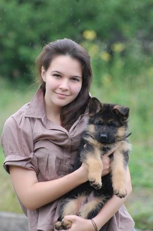 german girl: Teenager girl and German Shepherd dog puppy  Stock Photo