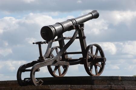 chernigow: Russian cannon 18 century in historical Russian town Chernigov,Ukraine  Stock Photo