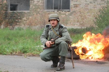 re enacting: German soldier.WW2 historical reenactment