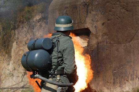 German soldier with flame-thrower. WW2 reenactment in Kiev,Ukraine  Stock Photo - 10636343