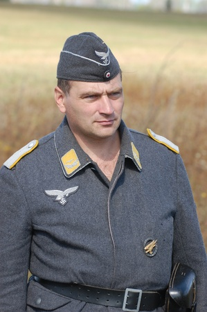 KIEV, UKRAINE -SEPT 18 : Unidentified member of Red Star history club wears historical German Luftwaffe uniform during historical reenactment of WWII, September 18, 2011 in Kiev, Ukraine  Stock Photo - 10666806