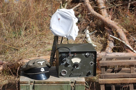 KIEV, UKRAINE -SEPT 18 :Original German military radio during historical reenactment of 1941 WWII, September 18, 2011 in Kiev, Ukraine