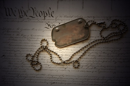 constitution: Freedom is not free . Dog tag on American Constitution