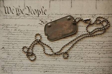 Freedom is not free . Dog tag on American Constitution Stock Photo - 10810970