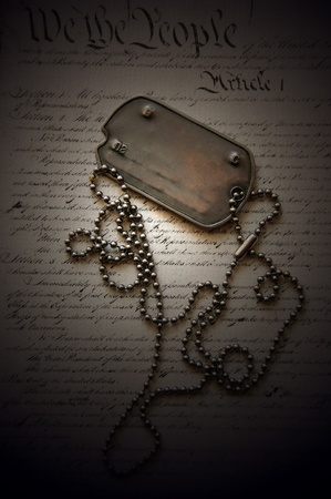 Freedom is not free . Dog tag on American Constitution Stock Photo - 10810967