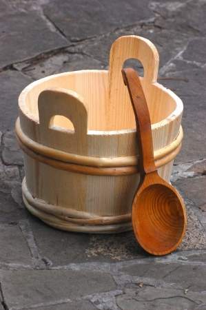 Traditional equipment for Russian bath from wood  photo