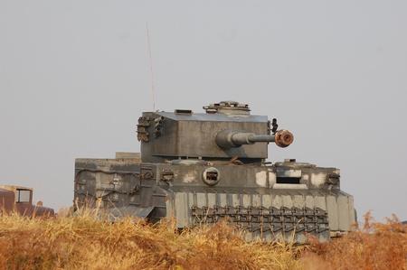 re enacting: KIEV, UKRAINE -NOV 6: German tank (replica) during historical reenactment of WWII, November 6, 2011 in Kiev, Ukraine