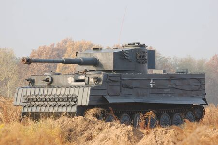 reenactmant: KIEV, UKRAINE -NOV 6: German tank (replica) during historical reenactment of WWII, November 6, 2011 in Kiev, Ukraine