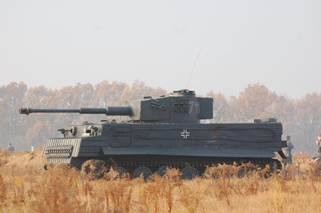 KIEV, UKRAINE -NOV 6: German tank (replica) during historical reenactment of WWII, November 6, 2011 in Kiev, Ukraine