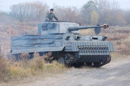 reenacting: KIEV, UKRAINE -NOV 6: German tank (replica) during historical reenactment of WWII, November 6, 2011 in Kiev, Ukraine