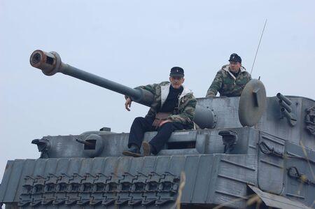 re enaction: KIEV, UKRAINE -NOV 6: German tank (replica) during historical reenactment of WWII, November 6, 2011 in Kiev, Ukraine
