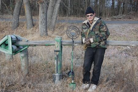 metal detector: Man with metal detector at winter. Ukraine  Stock Photo