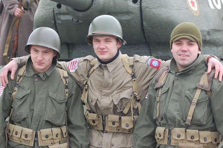 KIEV, UKRAINE -FEB 25:Unidentified members of Red Star history club wear historical American uniforms during historical reenactment of WWII, on February 25, 2012 in Kiev, Ukraine  Stock Photo - 12444547