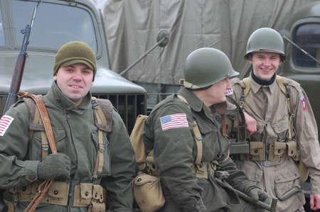 re enacting: USA at WWII.Historical reenactment in Kiev,Ukraine Editorial