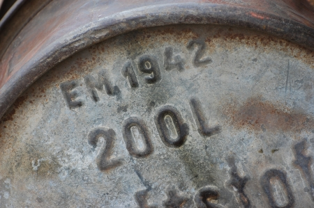 KIEV, UKRAINE -MAY 13:  Red Star military history club. Original German metal barrel for gasoline of WWII time during historical reenactment of WWII, May 13, 2012 in Kiev, Ukraine