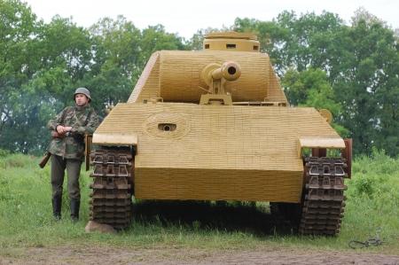 re enaction: KIEV, UKRAINE -MAY 13:Red Star history club.German tank (replica) during historical reenactment of WWII, may 13, 2012 in Kiev, Ukraine
