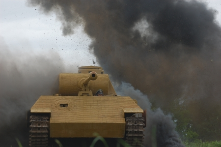 reenactmant: KIEV, UKRAINE -MAY 13:Red Star history club.German tank (replica) during historical reenactment of WWII, may 13, 2012 in Kiev, Ukraine