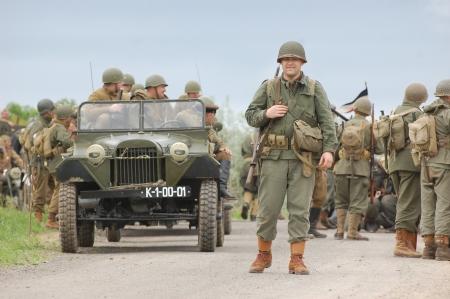 KIEV, UKRAINE -MAY 13: Members of Red Star history club wear historical German,Soviet and American uniforms during historical reenactment of WWII, May 13, 2012 in Kiev, Ukraine