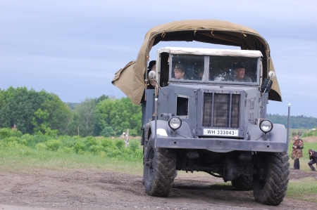 reenactmant: KIEV, UKRAINE -MAY 13: Red Star military history club. German truck of WWII time during historical reenactment of WWII , May 13, 2012 in Kiev, Ukraine  Editorial