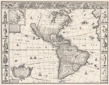 russland karte: Antike Karte von Amerika 1626