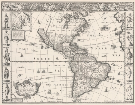 Antique Map of Americas 1626 photo