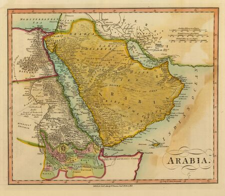 Antique Map of Arabia 1812 photo