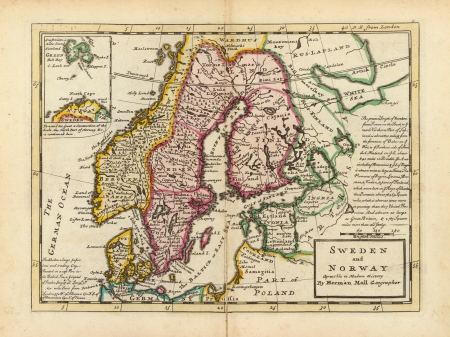 Antique Map of Scandinavia 1736 photo
