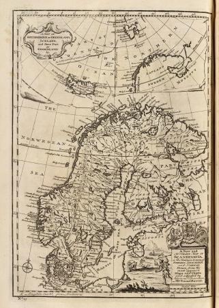 topografia: Mapa antiguo 1747 Foto de archivo