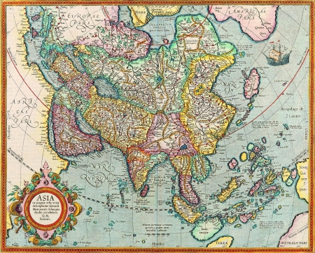 map of india: Antique Map Stock Photo