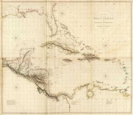 bandera cuba: Las Indias Occidentales 1810 viejo mapa
