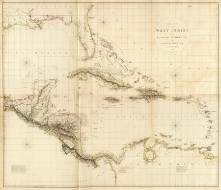 West Indies 1810 old map photo