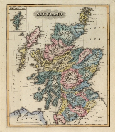 russland karte: Schottland 1823 alte Karte