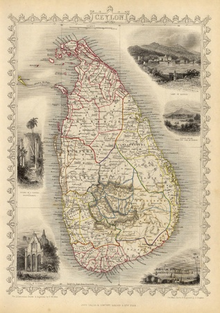 ceylon: Ceylon 1851 old map