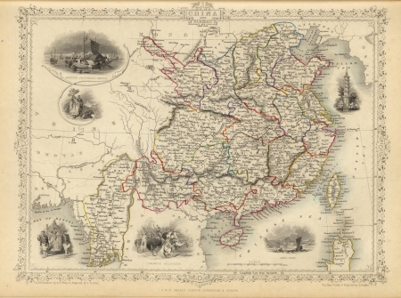 1851 Old map of China 写真素材
