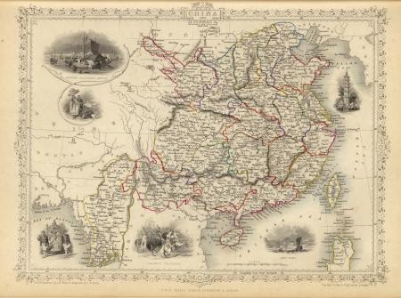 1851 Old map of China Фото со стока