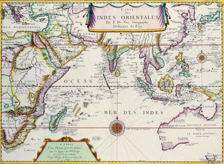 Map of South East Asia Pierre Duvalc 1680 photo