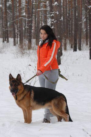 Teen girl with dog photo