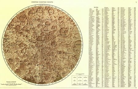 Old Soviet map of the Moon 1967. Polar area