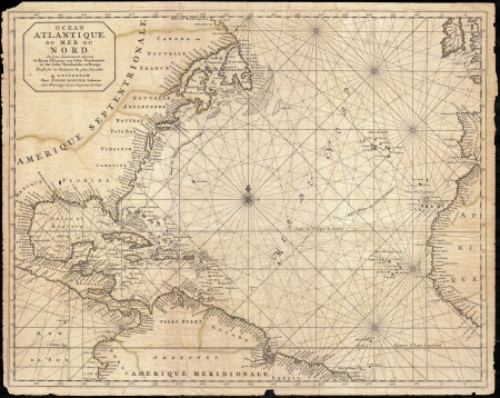 atlantic: West Indies old map Editorial